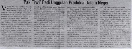 'Pak Tiwi' Padi Unggulan Produksi Dalam Negeri